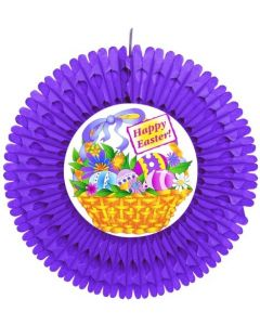Easter - Purple Fan w/ Easter Basket Diecut