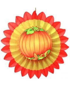 Autumn/Thanksgiving - Yellow/Orange Fan w/ Pumpkin