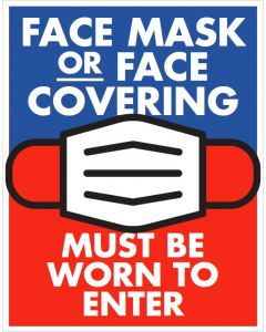 Face Mask 10X13 Sign - Red/Blue