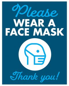 Face Mask 14x20 Sign - Blue